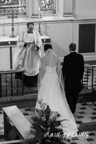 Bride and Groom stand at the altar in St Mary's Church