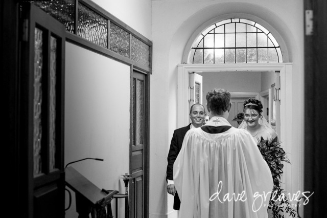 Bride and Groom prepare to process out of church after getting married