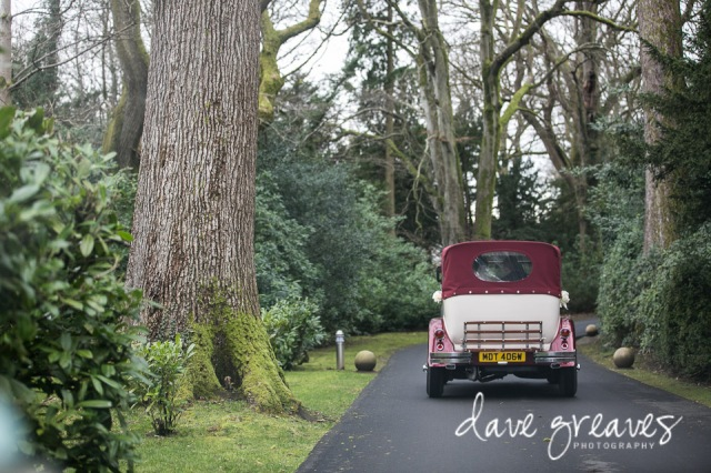 Ford Wedding Car drives up towards Armathwaite Hall