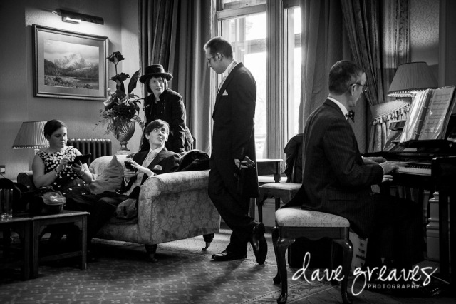 Pianist entertains the Wedding Guests in the Lake Suite at Armathwaite Hall