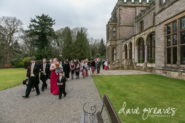 Wedding guests enjoying walking through the grounds at Armathwaite Hall
