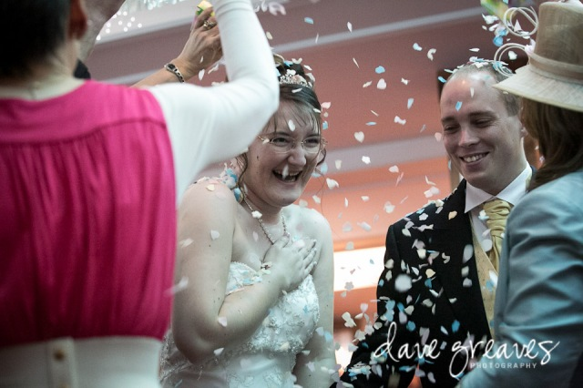 Confetti shot with Bride and Groom indoors