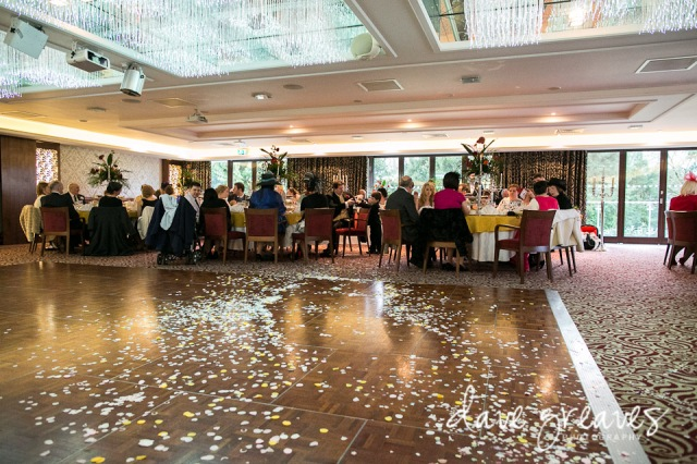 Broadwater Suite at Armathwaite Hall during Wedding reception with confetti on the dancefloor